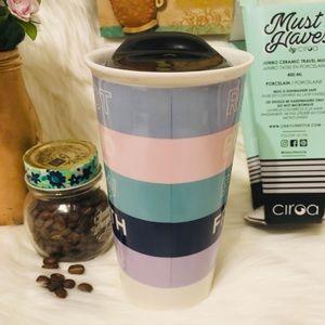 CIROA Kitchen - COFFEE WORDS TRAVEL MUG-JUMBO CERAMIC, 400 ml